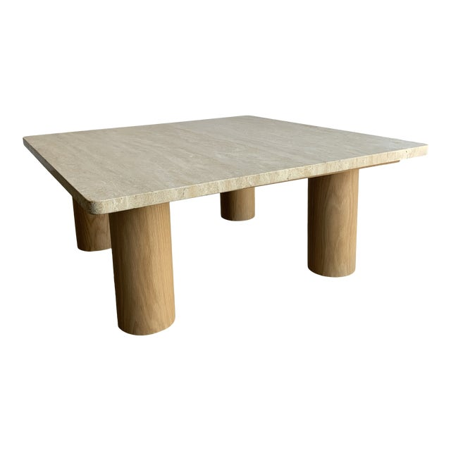 Rounded Edge Square Travertine Coffee Table For Sale