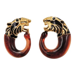 1980s Alexis Kirk Tiger's Head Tortoise Lucite Earrings For Sale