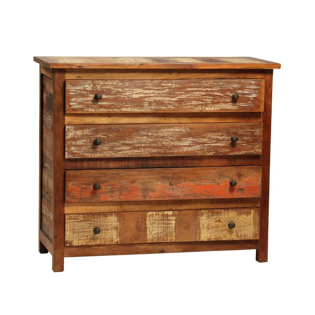 Solid teak wood reclaimed dresser with original old paired patinas and hand waxed finish. Each is unique and finish...