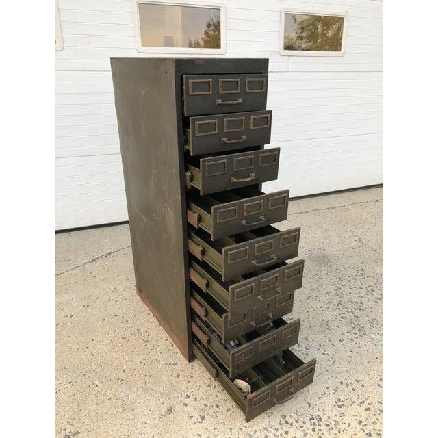 Vintage Industrial Green Steel Filing Cabinet For Sale - Image 9 of 13