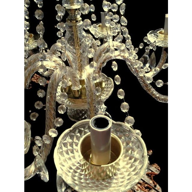 Metal Crystal Waterfall Chandelier For Sale - Image 7 of 8