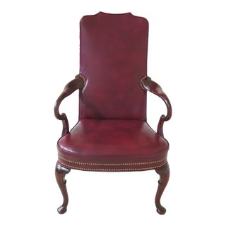 1990s Vintage Hickory Co. Queen Anne Mahogany Leather Arm Chair For Sale