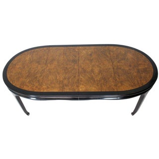 Small Compact Burl Wood Dining Dinette Table Two Extension Boards For Sale