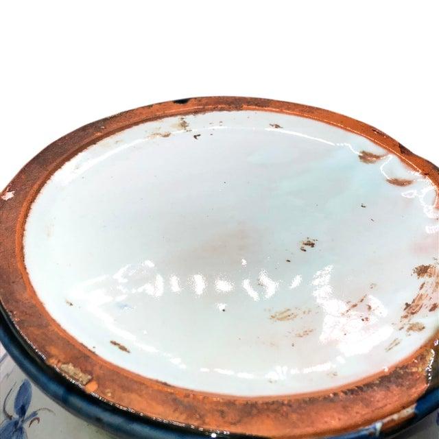 Blue Antique Majolica Italian Urn For Sale - Image 8 of 9