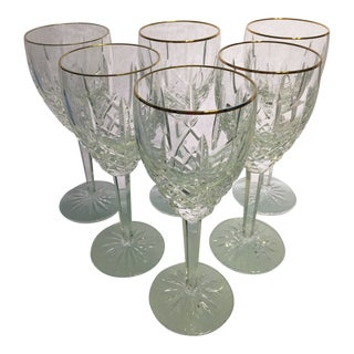 Traditional Waterford Araglin Gold Water Goblets - 6 Pieces For Sale