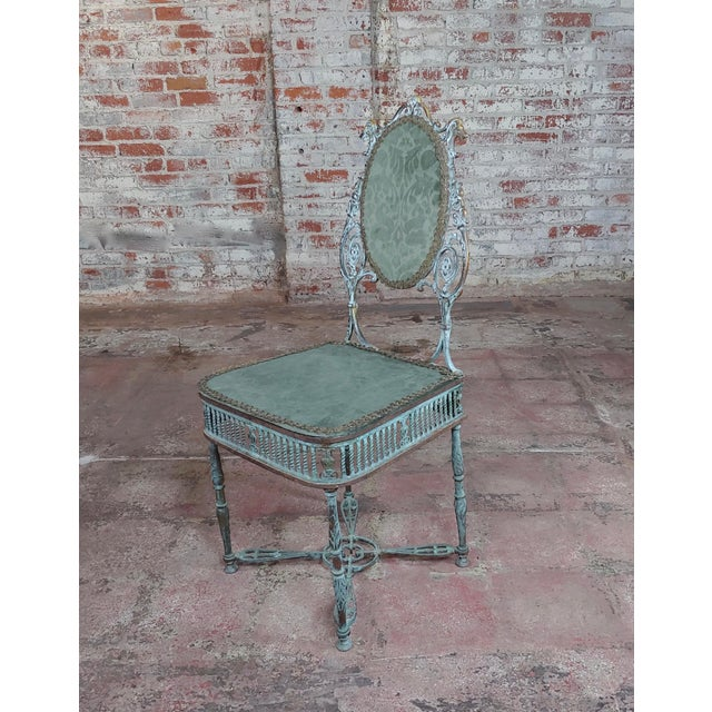 19th Century Bronze Vanity Chair W/ Lions Heads For Sale - Image 10 of 10