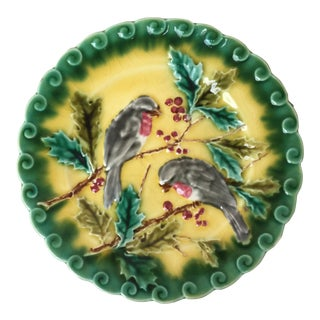 1880 Majolica Plate Birds With Holly Sarreguemines For Sale