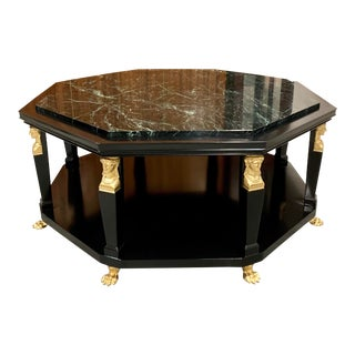 1910s Vintage Monumental Octagonal French Empire Marble Top Coffee Table For Sale