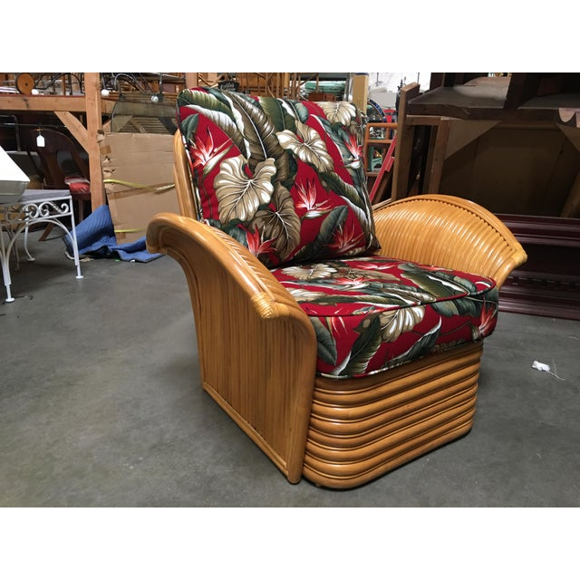 2010s Rattan Fan Arm Lounge Chair For Sale - Image 5 of 5
