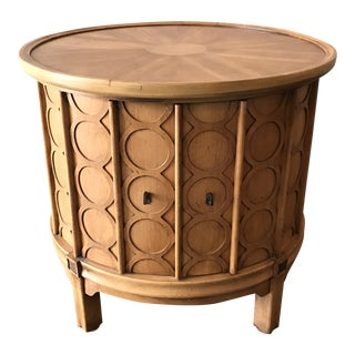 1960s Hollywood Regency Tomlinson Circular Side Table and Cabinet For Sale