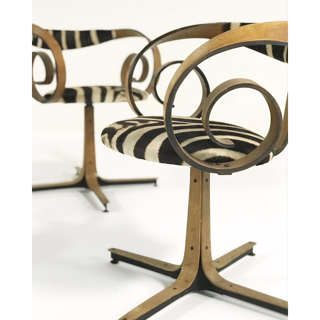 Lacquer George Mulhauser for Plycraft Sultana Chairs Restored in Zebra Hide - Pair For Sale - Image 7 of 11