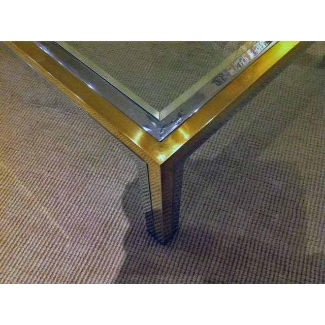 Romeo Rega Mid-Century Modern Brass, Chrome and Glass Coffee Table For Sale In New Orleans - Image 6 of 7