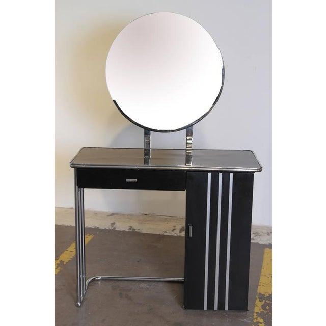 Machine Age Art Deco royal chrome dressing table # 347 by Royal Metal. Some attribute this design to Donald Deskey,...