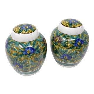 Vintage Japanese Floral Melon Jars - a Pair For Sale