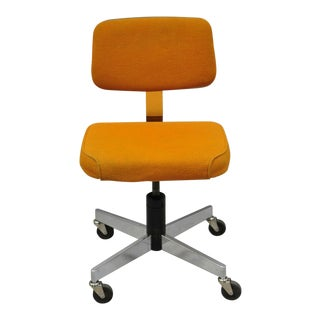 Vintage Mid Century Modern Harter Corp Orange Chrome Swivel Office Desk Chair For Sale