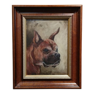 Portrait of a Boxer Dog - Oil Painting For Sale
