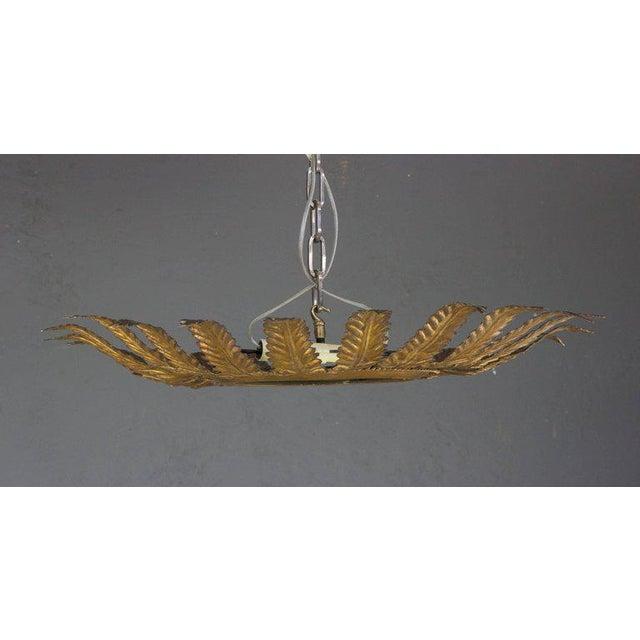 Spanish Gilt Metal Sunburst Flush Mount Ceiling Fixture For Sale In New York - Image 6 of 8