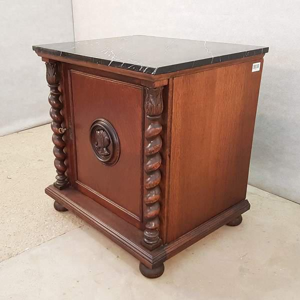 Contemporary French Louis XIII Style Early 20th C. Confiturier Cabinet Cupboard With Single Door and Marble Top For Sale - Image 3 of 13