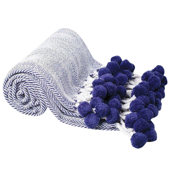 Boho Navy Herringbone Throw With Pom Poms For Sale