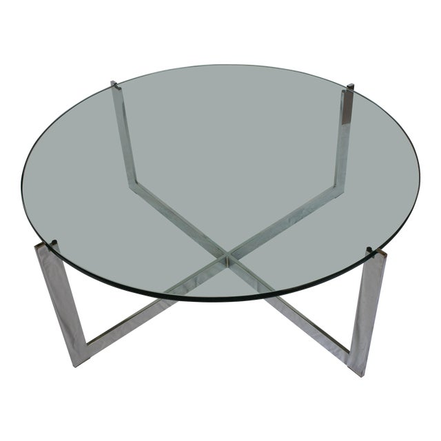 Milo Baughman Chrome & Glass Round Coffee Table For Sale