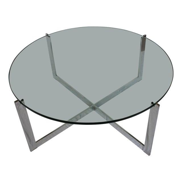 Milo Baughman Chrome & Glass Round Coffee Table - Image 1 of 11