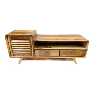 Reclaimed Salvage Wood Mid Century Style Media Unit For Sale