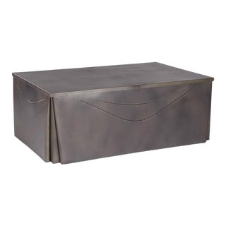 Metal Skirted Coffee Table, Large For Sale