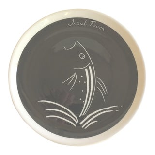 "Vintage ""Trout Fever"" Ceramic Art Plate For Sale"
