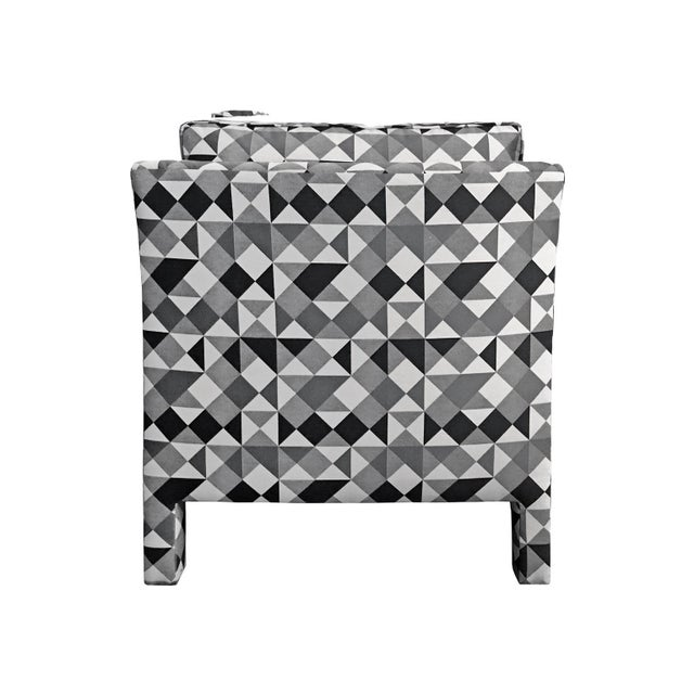 Mid-Century Modern 1970s Milo Baughman Style Parsons Lounge Chair in Black, White and Grey Geometric Fabric For Sale - Image 3 of 5