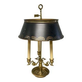 20th Century French Empire Style Bronze & Tole Bouillotte Lamp