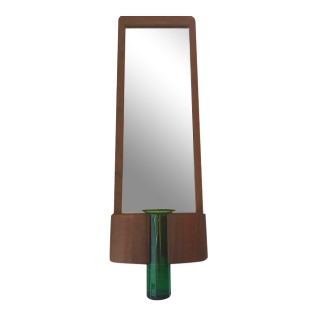Randers Møbelfabrik Danish Modern Teak Mirror W/ Green Vase For Sale