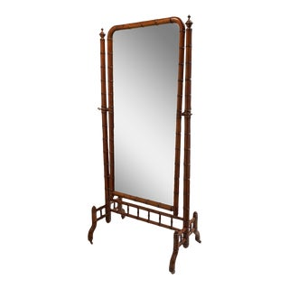Antique Faux Bamboo Cheval Dressing Mirror For Sale