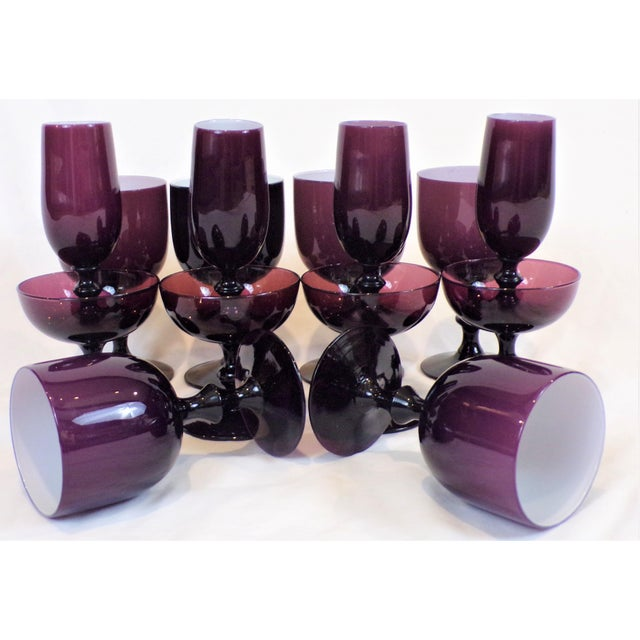 Glass 1960's Carlo Moretti Amethyst Cased Stemware - Set of 14 For Sale - Image 7 of 13