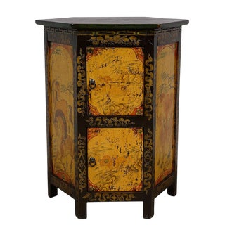 Antique Tibetan Hexagon Painted Nightstand For Sale