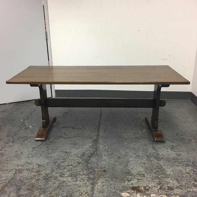 Solid Wood Trestle Dining Table - Image 2 of 9