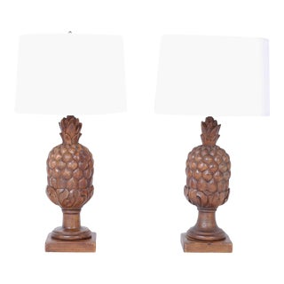 Carved Wood Pineapple Table Lamps - A Pair For Sale