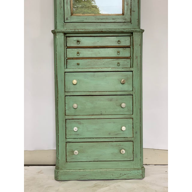 Spanish 19th Century Spanish Green Pharmacy Cabinet For Sale - Image 3 of 12