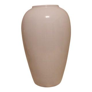1989 Haeger Gloss White Oil Jar Vase For Sale