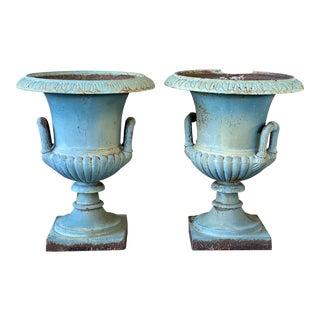 Antique French Cast Iron Blue Weathered Urns-A Pair For Sale