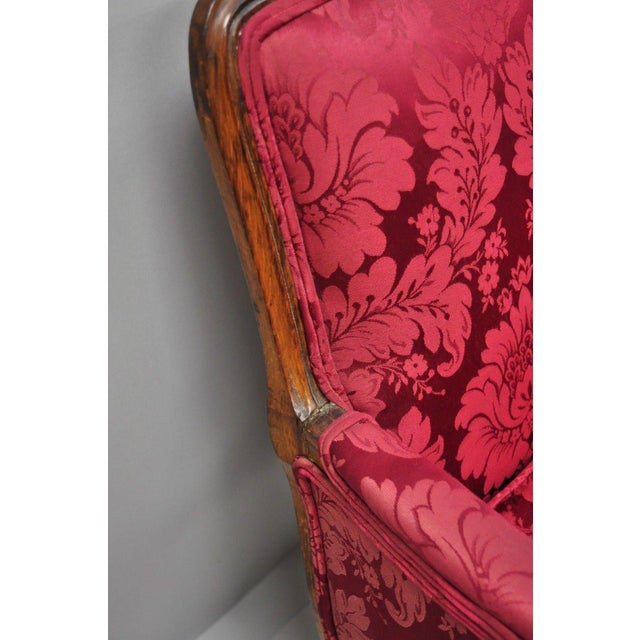 Red Antique French Country Louis XV Style Walnut Burgundy Small Wingback Settee For Sale - Image 8 of 13