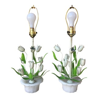 Italian Tole Tulip Lamps - a Pair For Sale