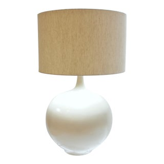 Mid 20th Century Modern Cream Ceramic Table Lamp For Sale