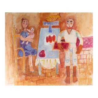 Family Dinner Still Life, Gouache Painting, Circa 1960s For Sale