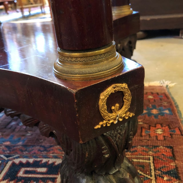 Empire 1800 French Round Gueridon Side Table With Bronze Ormolu Details For Sale - Image 3 of 13