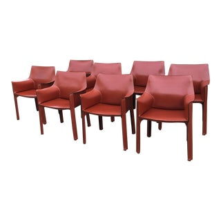 Mario Bellini for Cassina Leather Cab Dining Armchairs - Set of 8