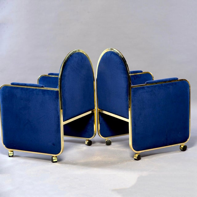 DIA - Design Institute America Pair Design Institute America Baughman Style Brass & Blue Velvet Club Chairs For Sale - Image 4 of 9