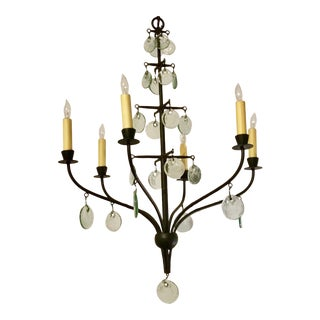 Transitional Seti Iron and Glass Disc Chandelier For Sale