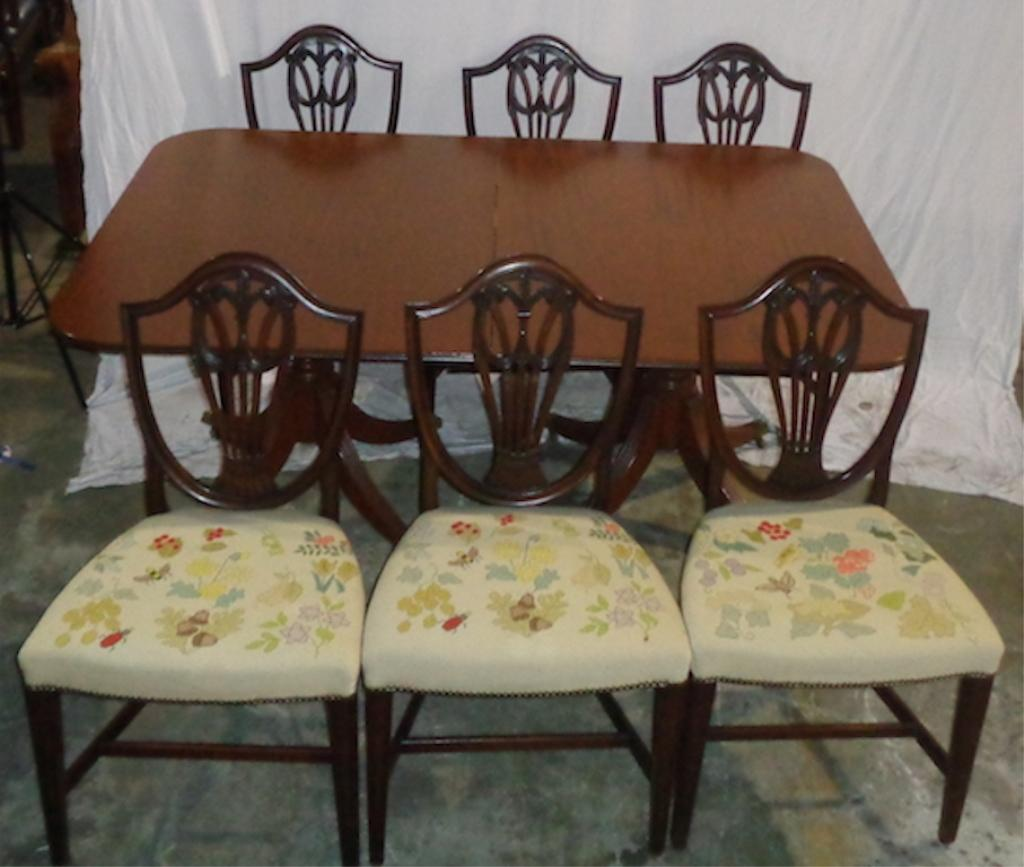 Mahogany Duncan Phyfe Style Dining Set With 6 Chairs   Image 3 Of 3