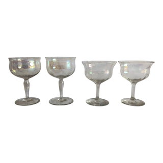 Midcentury Iridescent Set of 4 MIX Size Stem/Barware For Sale