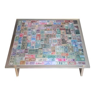 "Vintage ""The Color of Money"" Collage Coffee Table For Sale"